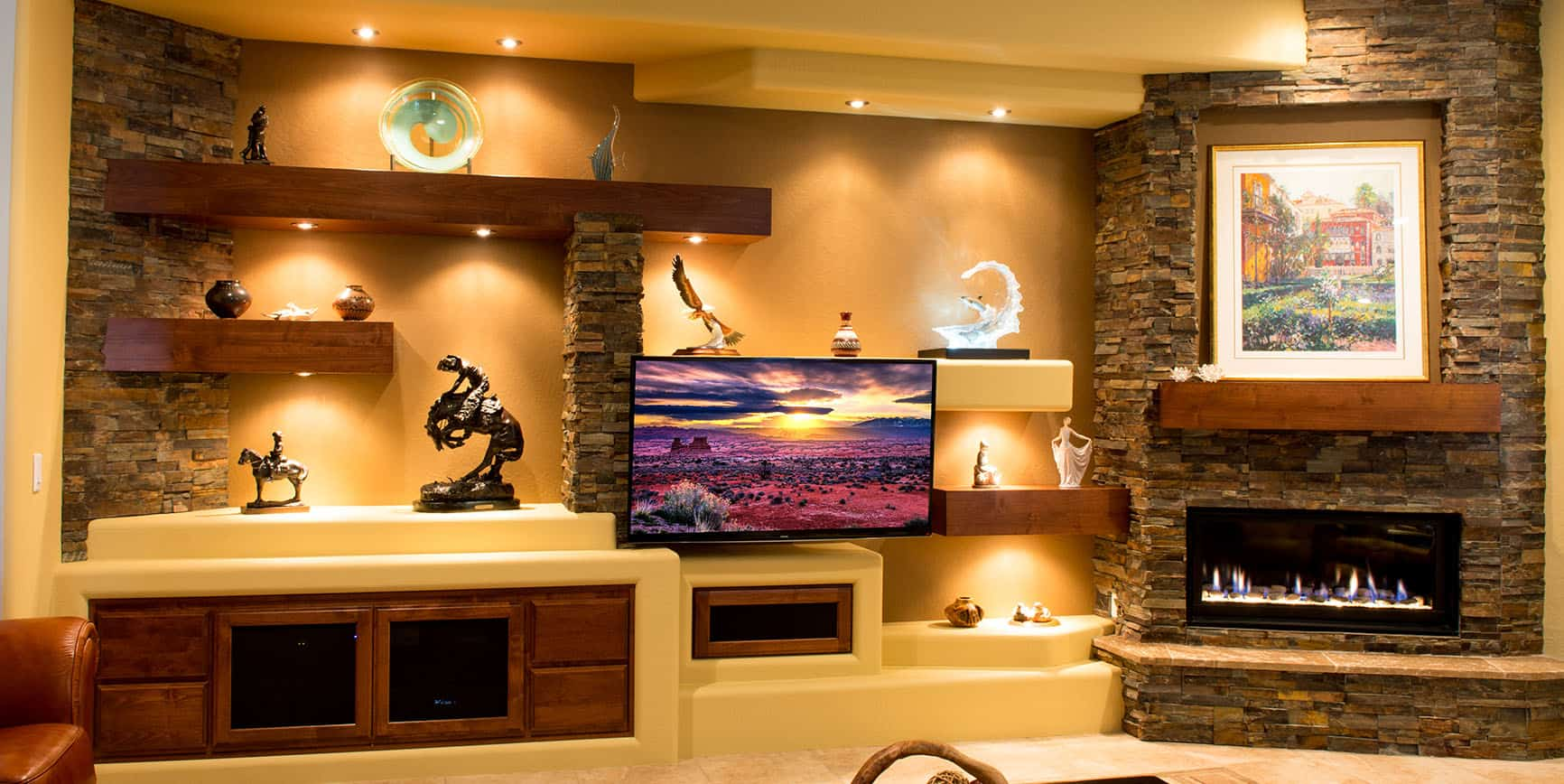 Media Room Designs With Fireplace